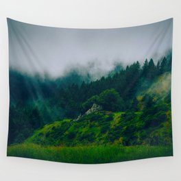 Moist Rainy Forest Pine Trees  Green Hills Wall Tapestry