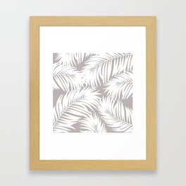 Palm Tree Fronds White on Soft Grey Hawaii Tropical Décor Framed Art Print