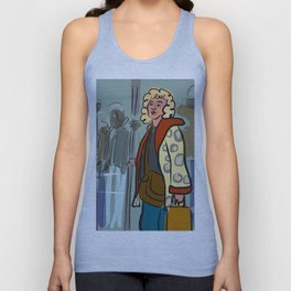Woman on the subway with an animal skin coat Unisex Tank Top