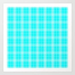 Neon Aqua Blue and White Tartan Plaid Check Art Print