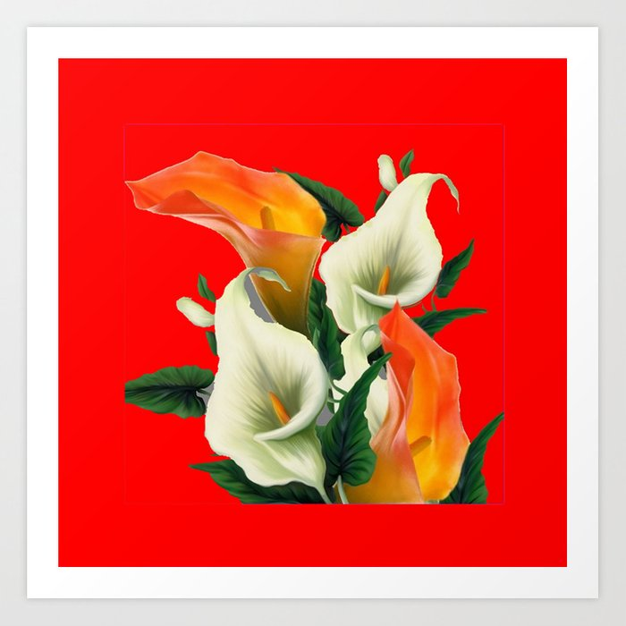 RED & WHITE-ORANGE CALLA LILIES GREY-GOLDEN GARDEN Kunstdrucke
