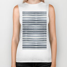 Simply Shibori Stripes Indigo Blue on Lunar Gray Biker Tank
