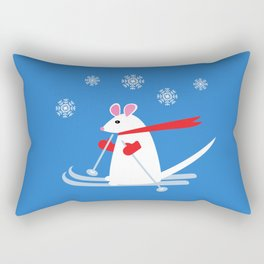 Christmas Mouse on Skis Rectangular Pillow