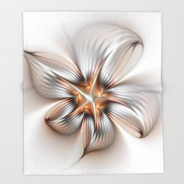 Elegance of a Flower, modern Fractal Art Throw Blanket