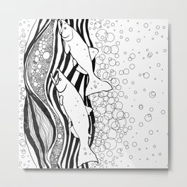Northwest Salmon in Black and White Metal Print