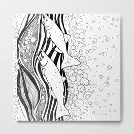 Northwest Salmon in Black and White Metal Print