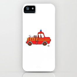 red vintage firetruck iPhone Case