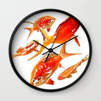 goldfish Wall Clocks featuring Goldfish by Regan's World