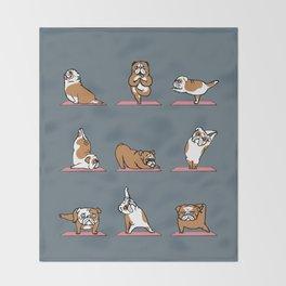 English Bulldog Yoga Throw Blanket