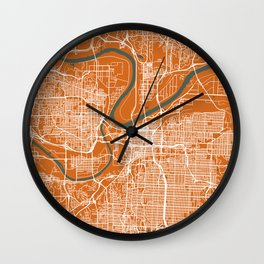 KANSAS City Map | Missouri US | Orange | More Colors, Review My Collections Wall Clock