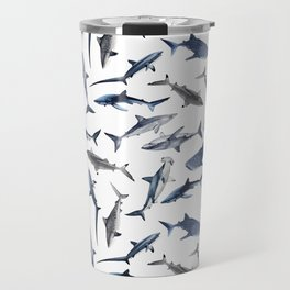 SHARKS PATTERN (WHITE) Travel Mug