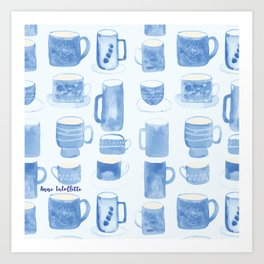 Blue coffee cups Art Print