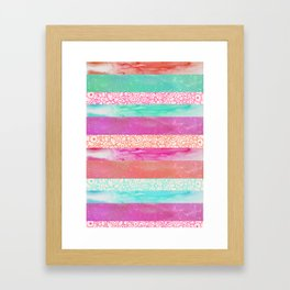 Tropical Stripes - Pink, Aqua And Peach Colorway Framed Art Print