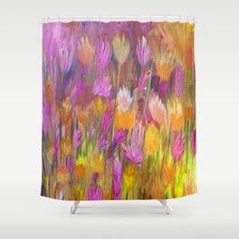 Field of Flowers in Yellow and Pink Shower Curtain