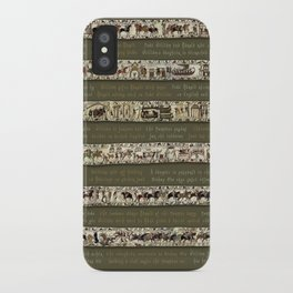 Bayeux Tapestry on Army Green - Full scenes & description iPhone Case