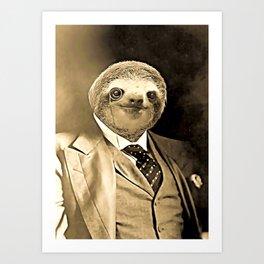 Gentleman Sloth with Monocle Art Print