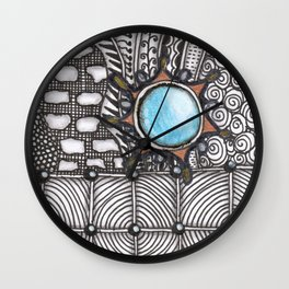 Turquoise Jeweled Tangle Art Wall Clock