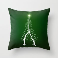 Christmas Tree Intertwined - painting Throw Pillow