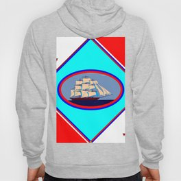 A Nautical Oval Ship and Anchors, red, white and blue Hoody