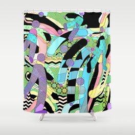 WATERCOLOR HODGE PODGE FIGURES IN LIMBO Design Illustration Pattern Print Shower Curtain