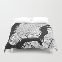 new york map Duvet Covers featuring New York City map by Studio Tesouro