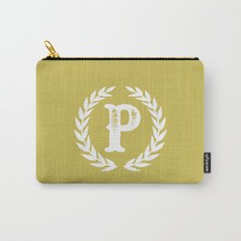Mustard Yellow Monogram: Letter P Carry-All Pouch