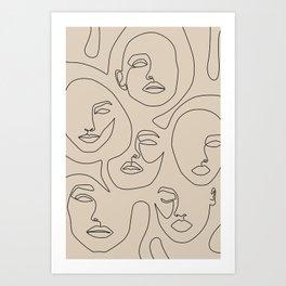Faces In Beige Art Print