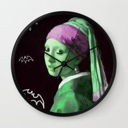 Zombie with a pearl earring Wall Clock