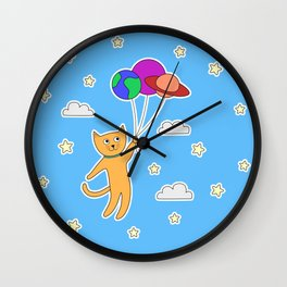 Cat in Space with Space Balloons Wall Clock