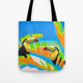 Colorful Toucans Tropical Banana Leaves Pattern Tote Bag