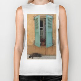Snoozing Cat French Riviera Biker Tank