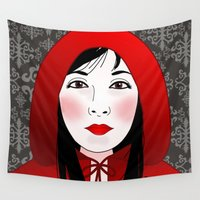 red riding hood Wall Tapestries featuring Little riding red hood by Pendientera