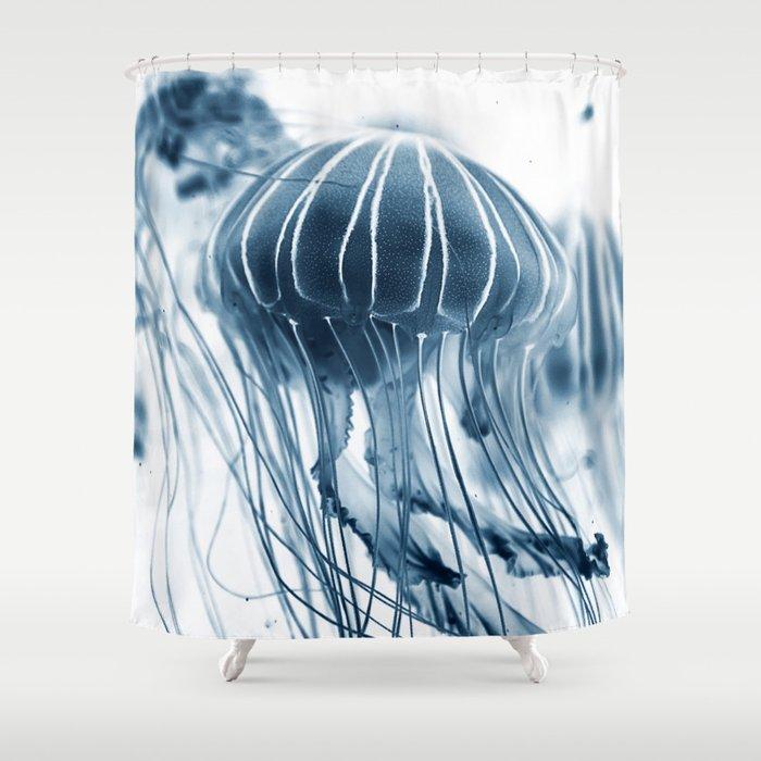 Jellyfish blue Shower Curtain