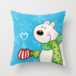 Hot Cocoa Polar Bear Throw Pillow