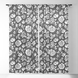 White Rose #illustration #pattern Sheer Curtain