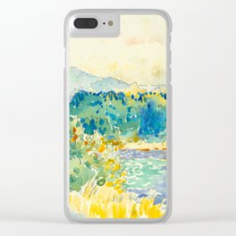 Mediterranean Landscape With a White House Watercolor Landscape Painting Clear iPhone Case