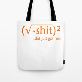 "Creative and unique tee design with text ""Shit Just Got Real"" Tote Bag"