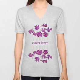 purple clover leaves Unisex V-Neck
