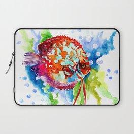 Bright Colored Aquarium Fish, Aquatic Beach Design Discus Laptop Sleeve