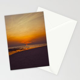Vintage Sepia Orange Rustic Sunset Over The Ocean Stationery Cards