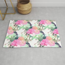 Girly Pink & White Flowers Watercolor Paint Rug