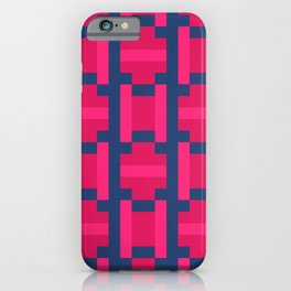 PUZZLE bright red and pink shapes on navy blue background iPhone Case