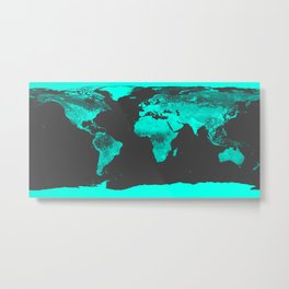 worlD MAP Aqua Gray Metal Print