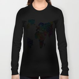 Typography Text Map of the World Long Sleeve T-shirt