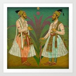 2 Mughals on Green Art Print