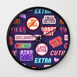 """No chill"" pattern (patches, stickers ""scream queen"", ""cutie"", ""bae"", ""wicked"", etc) Wall Clock"