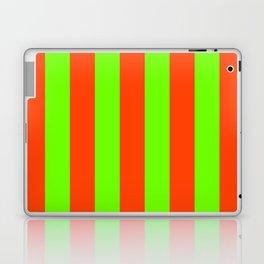 Bright Neon Green and Orange Vertical Cabana Tent Stripes Laptop & iPad Skin