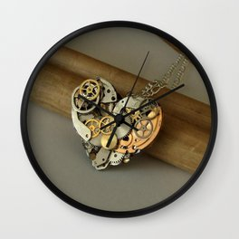 Steampunk Heart of Gold and Silver Wall Clock