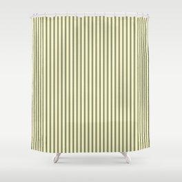 Mattress Ticking Narrow Striped Pattern In Dark Black And Cream Shower  Curtain