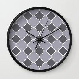 Pantone Lilac Gray Ornamental Moroccan Tile Pattern with White Border Wall Clock